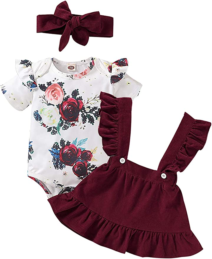 Gorgeous Baby Set Skirt-Straps Suspenders Riband Watermelon Pattern Cyclamen Baby Bodysuit Watermelon Print Accessories Baby Girl Clothes