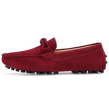 Conducción de los Hombres Penny Mocasines Low-Top Suede Cuero Genuino Casual Mocasines Slip-On Boat Shoes, Mocasines para Hombre 2018 (Color : Marrón, ...