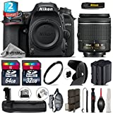 Holiday Saving Bundle for D7500 DSLR Camera + AF-P 18-55mm + Battery Grip + 64GB Class 10 Memory Card + 2yr Extended Warranty + 32GB Class 10 Memory + Backup Battery - International Version