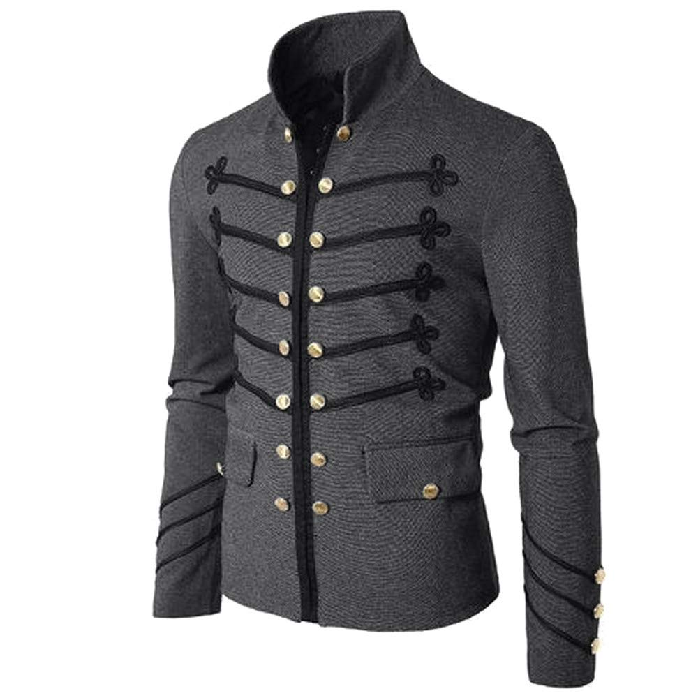 Men Gothic Vintage Jacket Double Breasted Formal Gothic Victorian Coat Costume (XXXXL, Gray) by Yihaojia Men Blouse