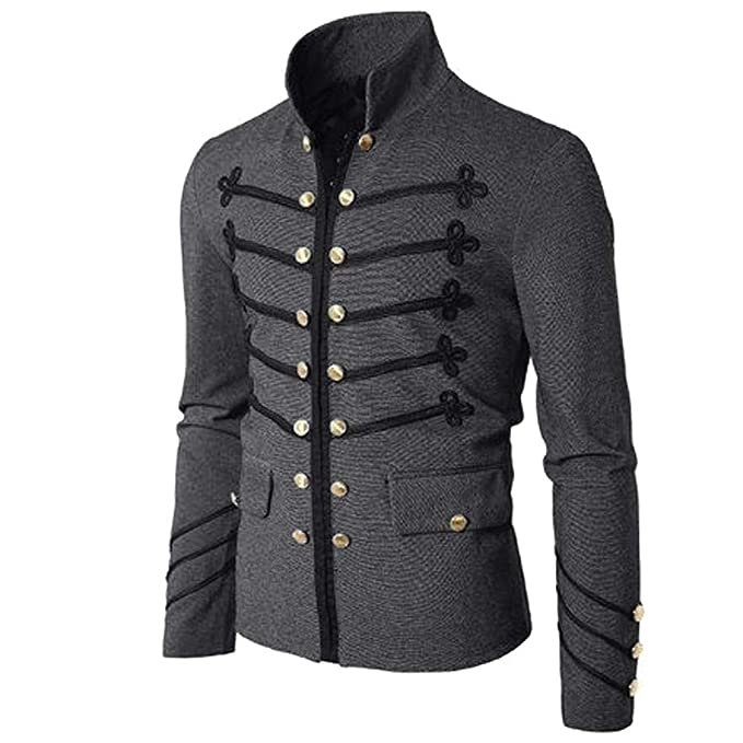 MEIbax Escudo de los Hombres Chaqueta gótica botón de Bordar Abrigo de Color sólido Uniforme Traje de Fiesta Prendas de Vestir Exteriores Praty Outwear ...