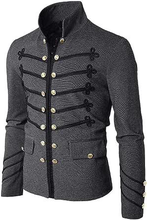 Gran promoción!Escudo de los Hombres Chaqueta gótica botón Bordado Abrigo Uniforme Traje de Fiesta Prendas de Vestir Exteriores Color sólido de ...