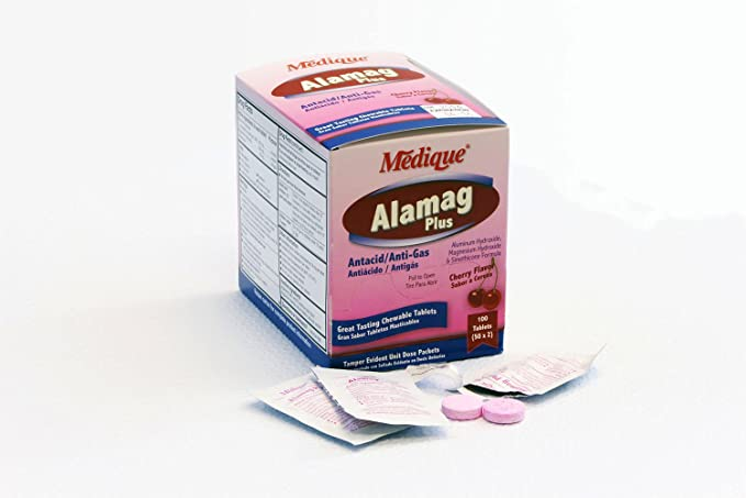 Medique 24733 Alamag Plus Antacid, Tablets, 100-Pack - Workplace First Aid Kits - Amazon.com