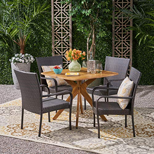 Orlando Outdoor 5 Piece Wood and Wicker Dining Set, Teak, Multi Brown (Orlando Furniture Outdoor Cheap)