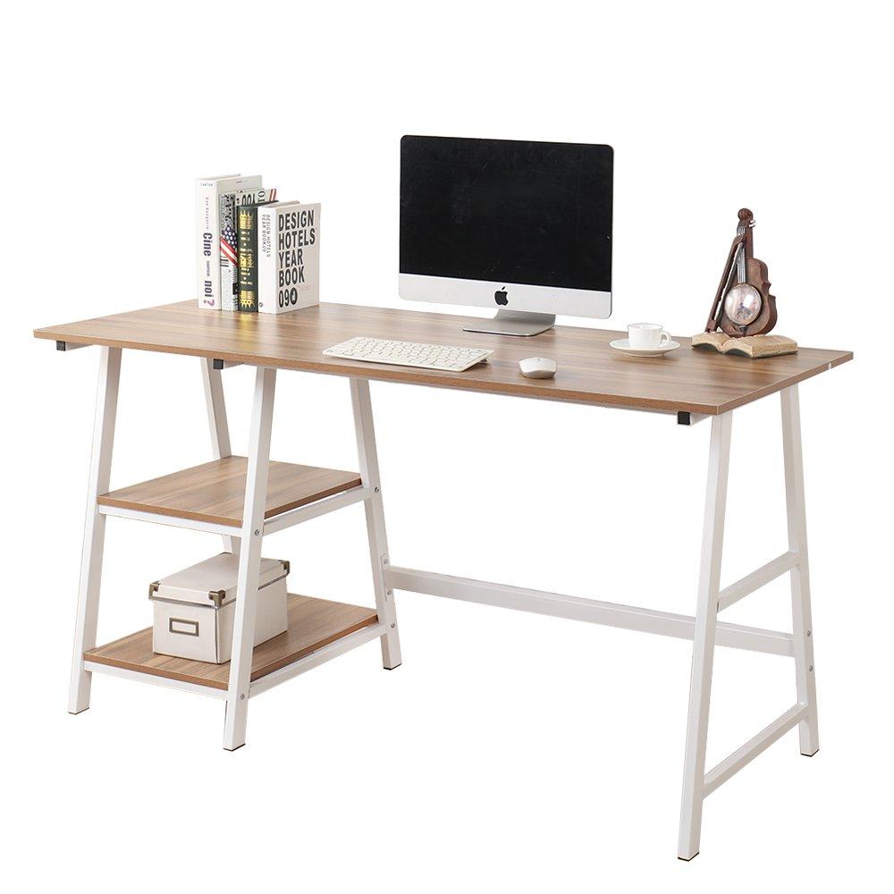 Soges 55 in Trestle Desk Computer Desk Writing Desk Home Office Desk Hutch Workstation with Shelf, Oak CS-Tplus-140OK-U