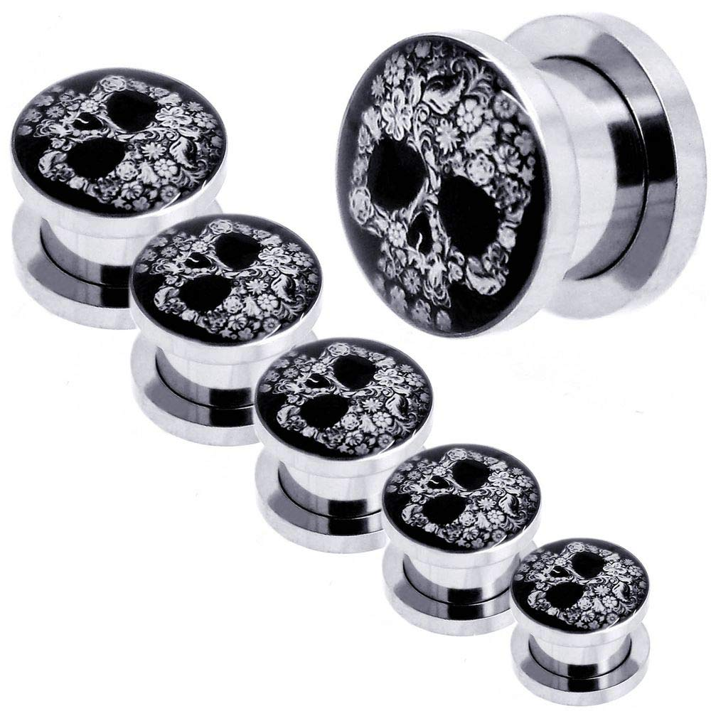 tumundo 1x o Set Kit Túnel Dilataciones Acero Inoxidable Pendientes Piercing Expansor Stretcher Cráneo Negro Ø 3-10 mm, modelo:10 mm Tunnel: Amazon.es: ...