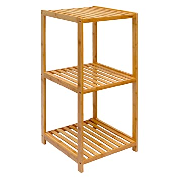 DuneDesign Bambus Holz Regal 38x39,5x83cm Badregal 3 Fächer Bad Badezimmer  Standregal Aufbewahrung Ablage