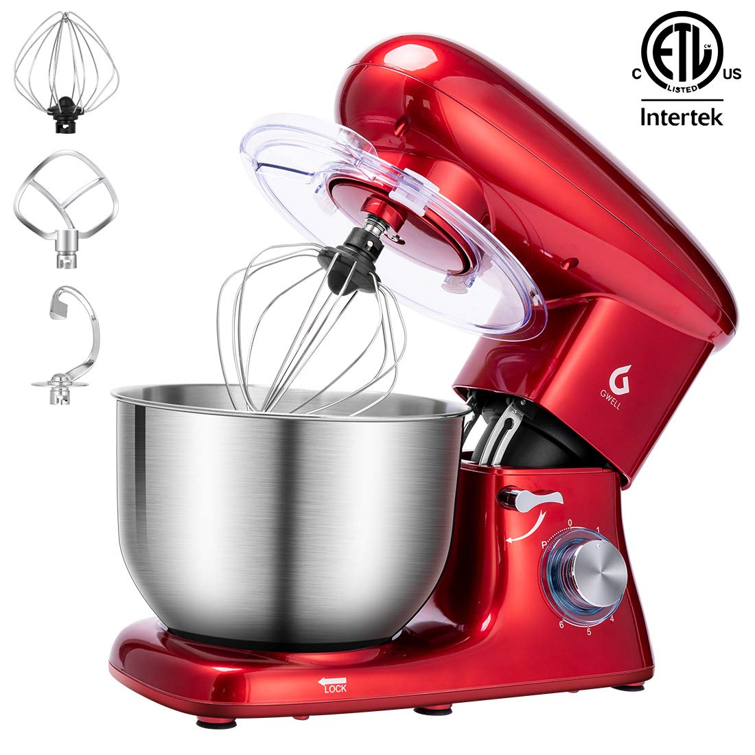 GWELL Tilt-Head Stand Mixer, 6-Speed Electric Mixer with Stainless Steel Bowl, Dough Hook, Beater and Whisk, Red