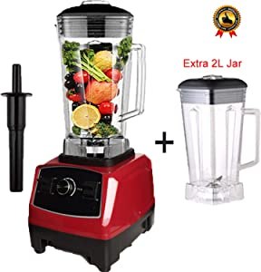 BPA free 2200W Heavy Duty Commercial Blender Professional Blender Mixer Food Processor Japan Blade Juicer Ice Smoothie Machine,Red extra jar lid