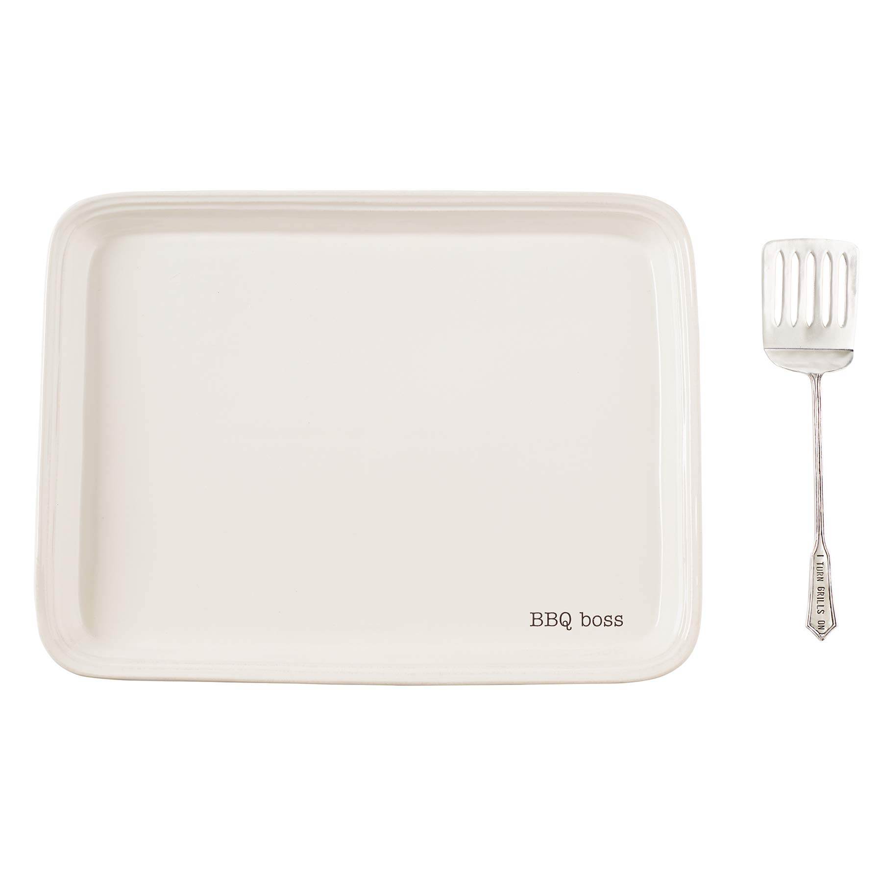 Mud Pie 40700096 Grill BBQ Boss Serving Platter Set, One Size, White