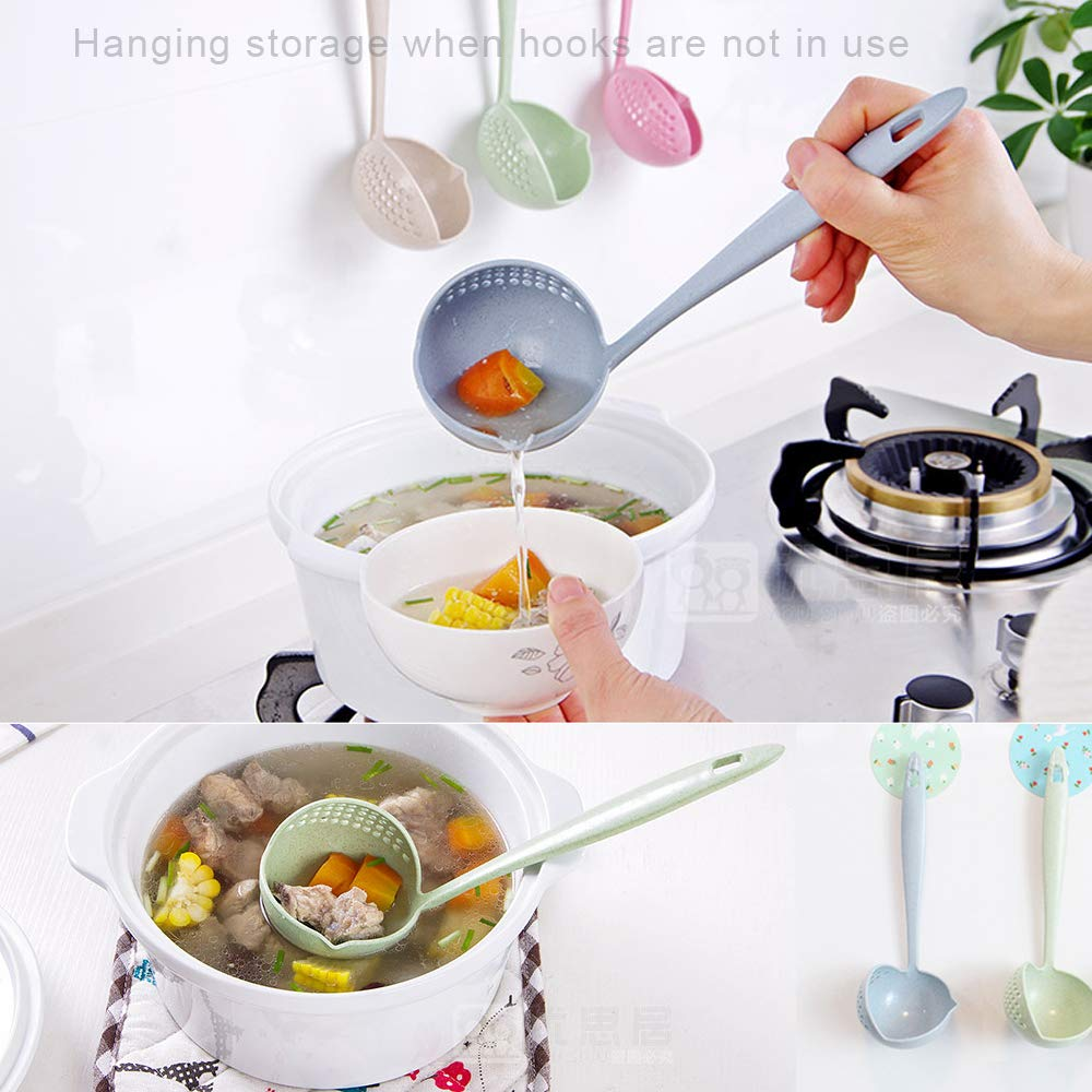2 Pieces 2 in 1 Hot Pot Soup Spoon Colander Beyme Dual Purpose Colander Skimmer Slotted Spoon Strainer Wheat Straw Stalk for Daily Useful Cooking Tools Kitchen