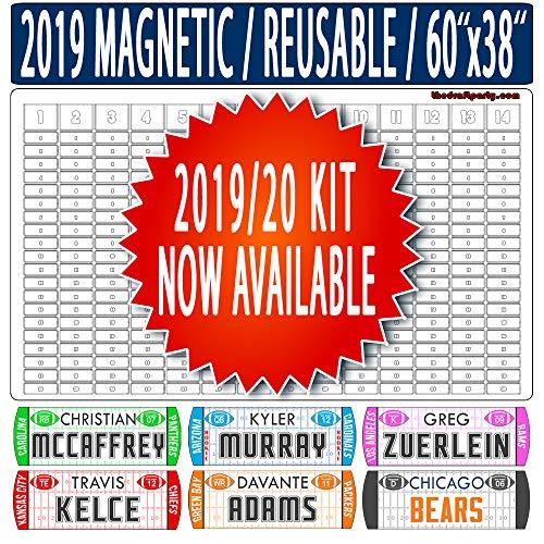 Fantasy Football Draft Board - Reusable/Portable - 2019/20 Magnetic Kit, 304 Movable Names - Write/Erase Option - Multi-Sport (Baseball, Hockey, Basketball) - Large 60