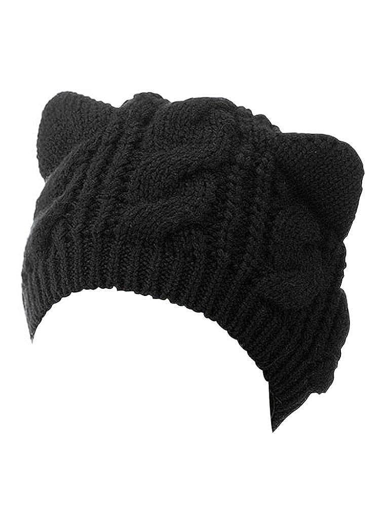 Amazon.com  Choies Women s Acrylic Cat Ears Knit Black Beanie Hat ... 722215ad15c