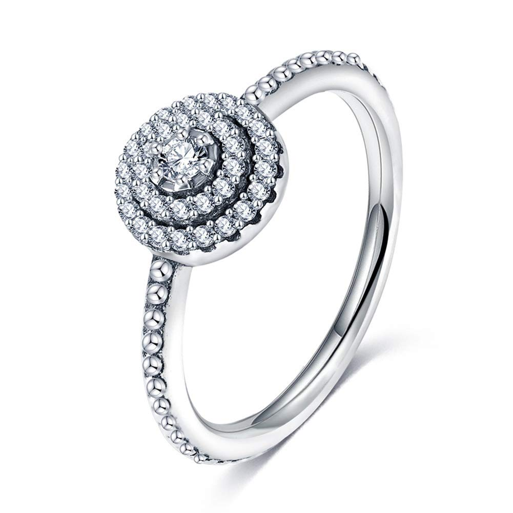 Slendima Round Rhinestones Inlaid Women Fashion Wedding Band Engagement Ring Jewelry Gift Silver US 8
