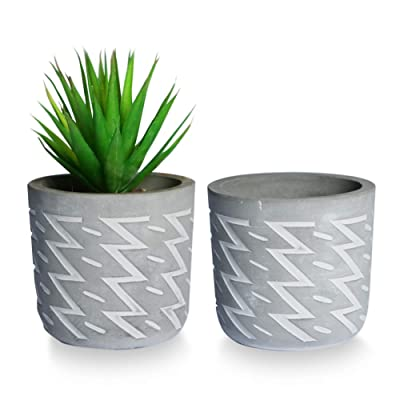 SQOWL 4inch Modern Round Cement Succulent Planter Pot,Small Concrete Flower Pot Cactus Planter Herb Plant Pot with Drainage Hole,Gray and White Indoor Outdoor Set of 2: Garden & Outdoor