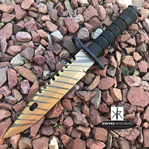 Monogram Knife, Custom Knife, Hunting Bowie, Military Tactical, Personalized Knife, Engraved Knife, CSGO Razor Fixed Blade Jungle Knife (Gold)
