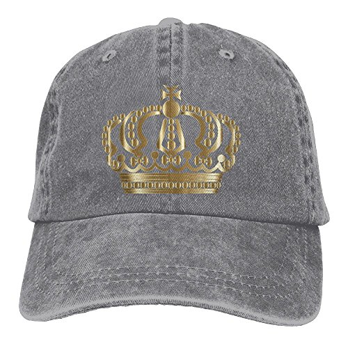 YUA85FSW Neutral Gold German Imperial Crown No Background Hat Cotton Denim Fabric Hat Designed Cowboy Hat (Imperial Denim)
