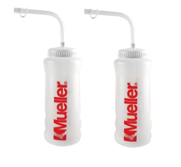 Mueller Quart Bottle w/ Straw (New Design), Natural Color w/ Red