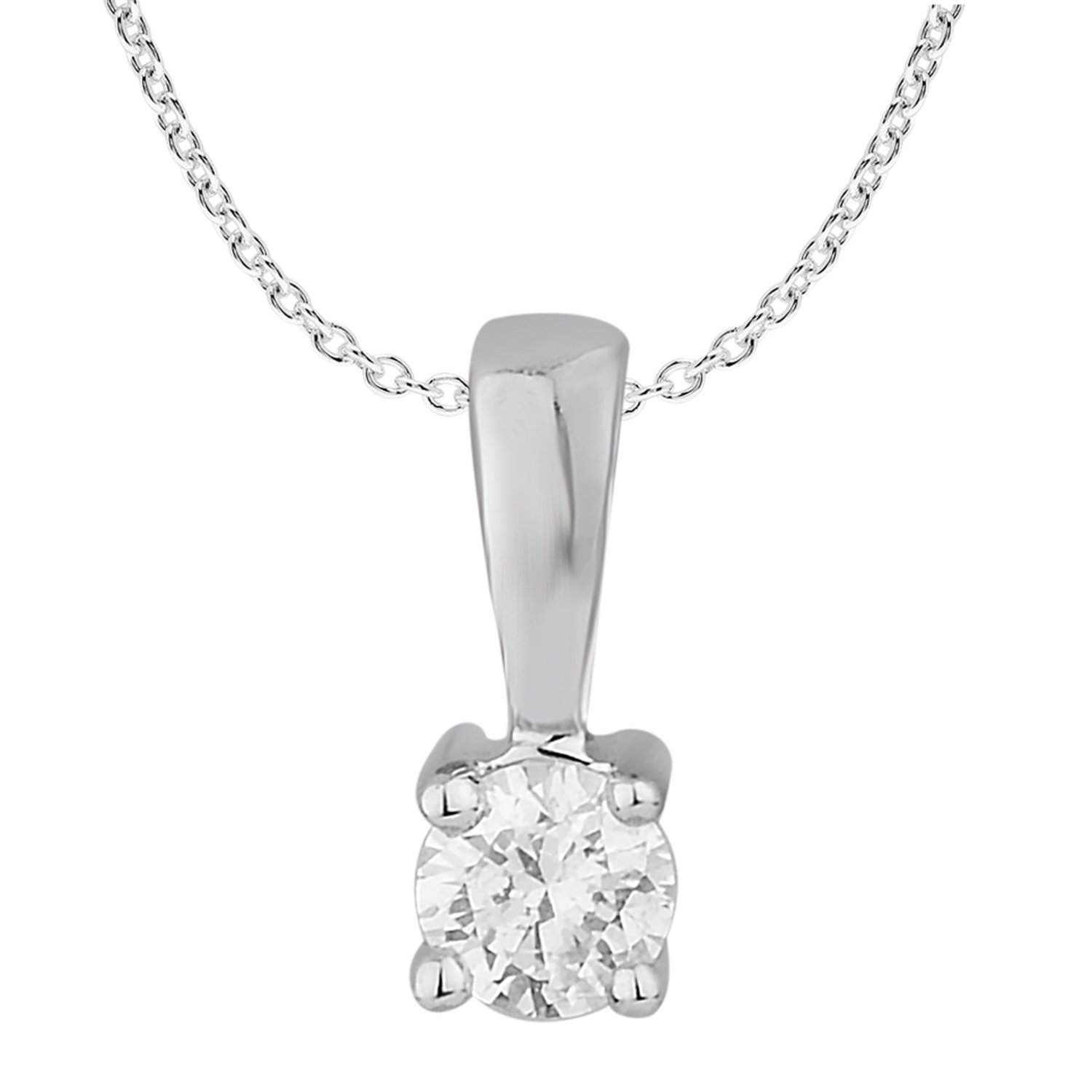 1/10 ct Round Diamond Pendant Necklace Solitaire 10k White Gold (0.10cttw, IJK ,I2-I3)