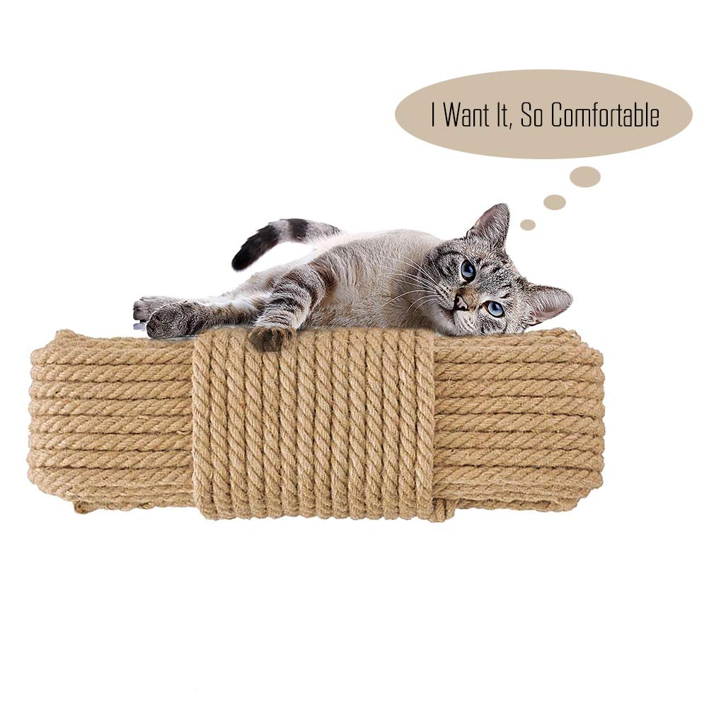 Aoneky Replacement Cat Scratching Post Sisal Rope - Hemp Rope for Cat Tree and Tower (1/4'' 98 Ft) by Aoneky