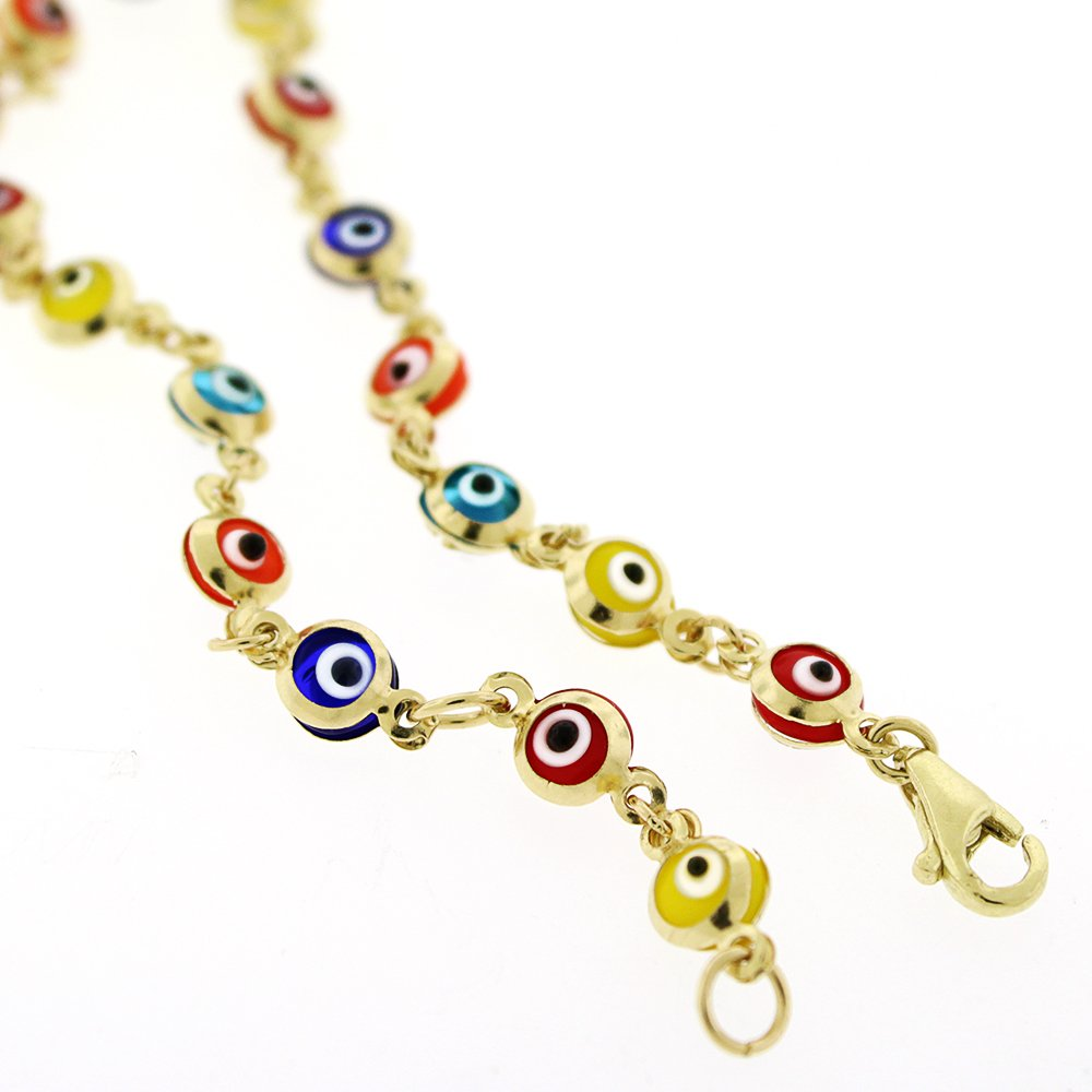 14k Yellow Gold Childrens 4mm Multi-Color Evil Eye Bead Good Luck Charm Bracelet Chain 6''