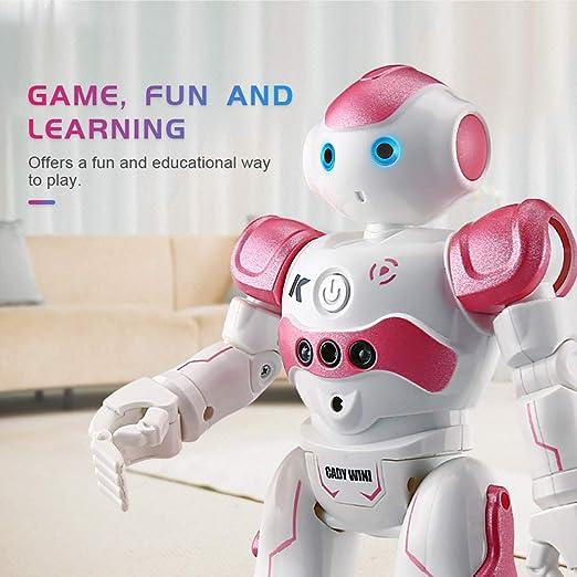 AHAQ Robot Inteligente, programable, Interesante, con Luces LED, inducción Inteligente, Capaz de Cantar y Bailar, Apto para niños Mayores de 8 años,Rosado: Amazon.es: Hogar