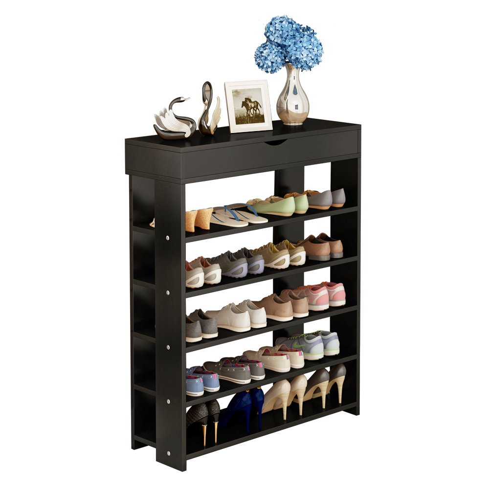 Soges Shoe Racks with Top Drawer Solid Wood Shoe Storage Shelf Organizer 5 Tiers Black L24-BK-N-CA PRC