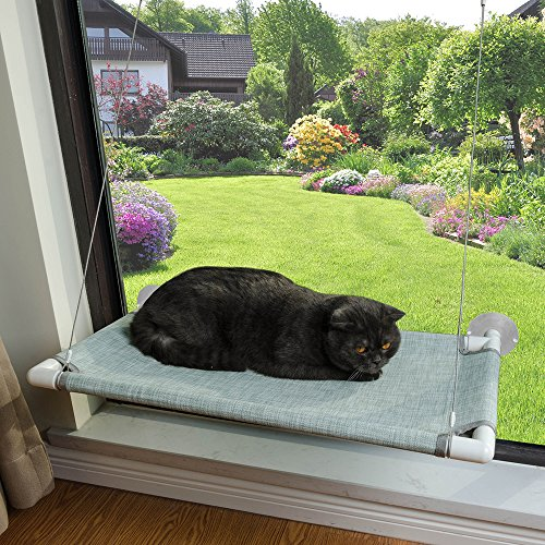 Cat Window Perch with Removable Plush Mat and Big Suction Cups, Holds up to 60lbs for Bigger or Multiple Cats, Food Grade Placemat Mesh Cover