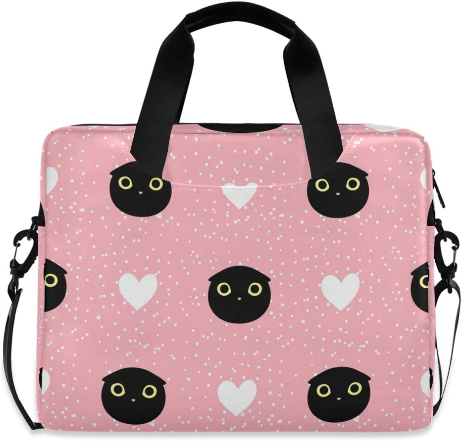 Cute Laptop Cases 15.6 for Women Laptop Shoulder Bag Carrying Briefcase Handbag Sleeve Case Cut Head Black Cat with Heart and Dot