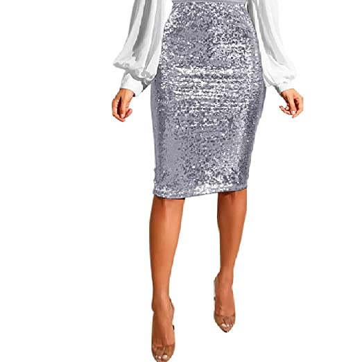 f5aa6df909c1 Image Unavailable. Image not available for. Color: Women's Sequin Skirt  High Waist Sparkle Pencil Skirt Party Cocktail Silver