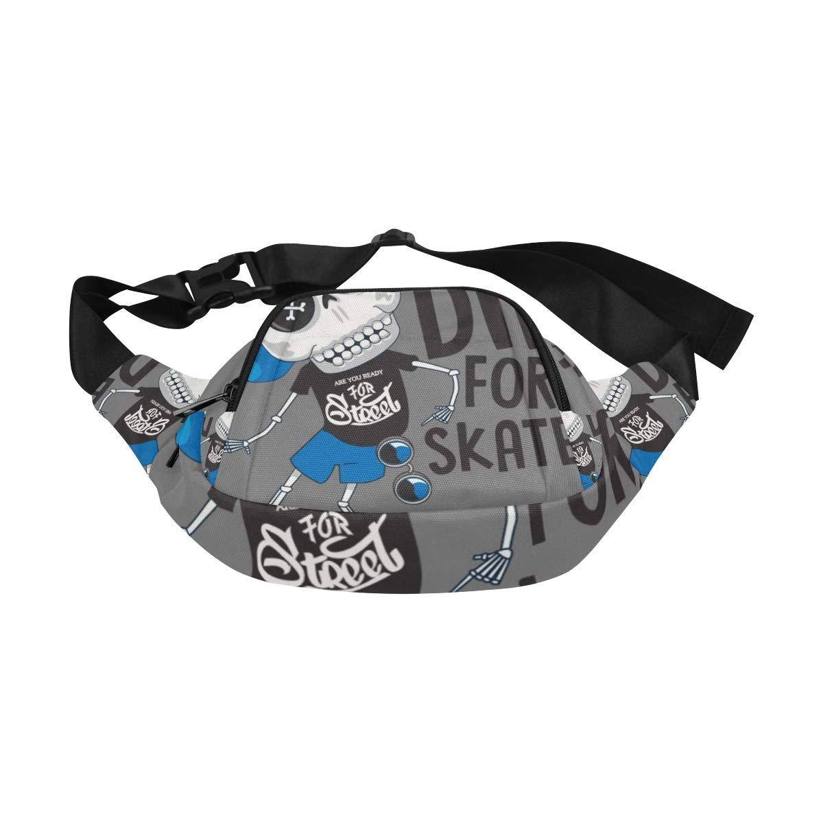 Young People Hip-hop Cool Skulls Fenny Packs Waist Bags Adjustable Belt Waterproof Nylon Travel Running Sport Vacation Party For Men Women Boys Girls Kids