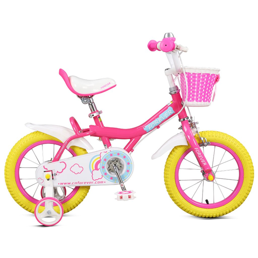 子供用自転車5-10歳の赤ちゃんバイク18インチの赤ん坊のキャリッジ高炭素鋼の男の子と女の子の自転車、白ピンク/黄色 (Color : Yellow) B07CVTJR22