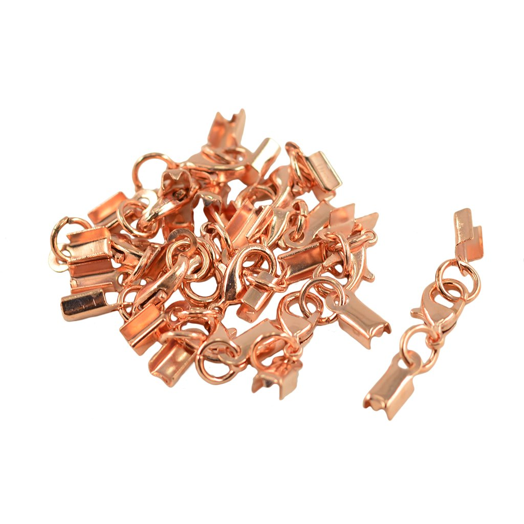 12Sets Fold Over Cord End Crimp Caps Lobster Hook Jewelry Making Rosegold