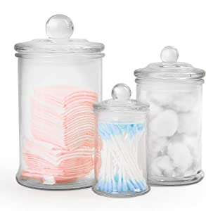 Gonioa Set of 3 Clear Glass Apothecary Jars-Premium Quality Bathroom Vanity Organizer Apothecary Jars Canister Set for Cotton Swabs, Makeup Sponges, Bath Salts,Q-Tips