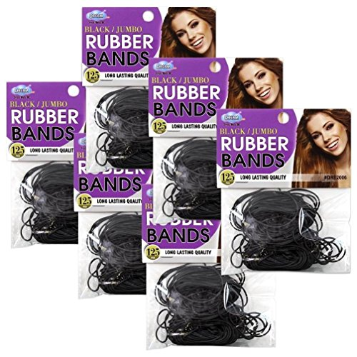 125pcs Dream Jumbo Rubber Bands Hair Ponytail Braids Holder Ties #DRE2006 -6pack (Flash Rubber Wig)