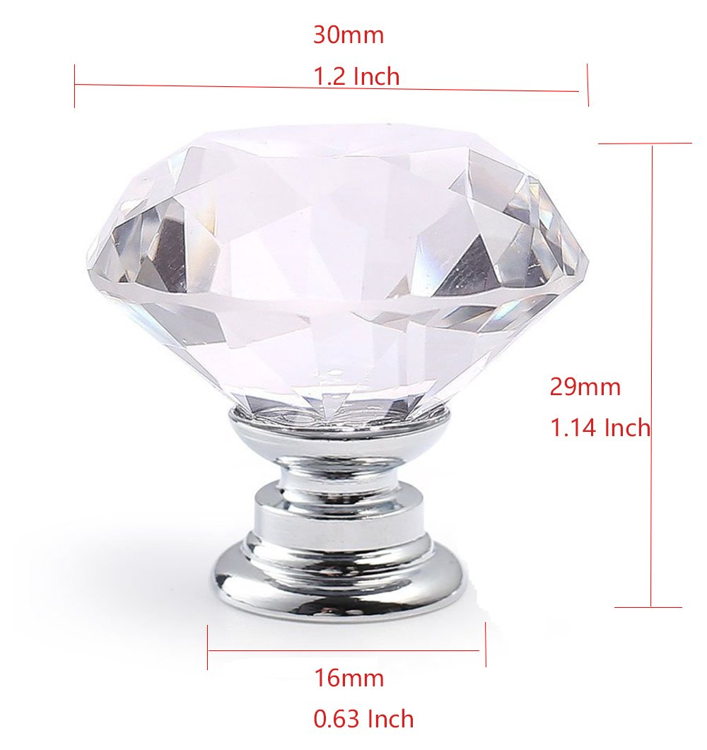 BTMB 10 Pcs Dia 30mm//1.2 Inch Crystal Glass Cabinet Knobs Diamond Cupboard Drawer Pull Handle