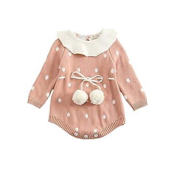 f18f3b9c74c7f ZooArts ベビー服 ロンパース ニット 女の子 長袖 新生児 水玉柄 かわいい ボール 100%綿 カバーオール 赤ちゃん