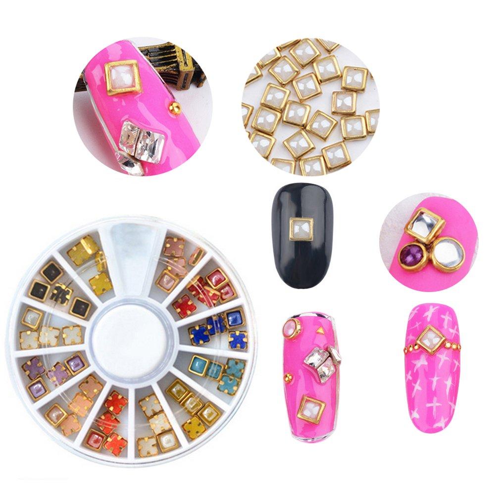 Garrelett Multicolored 3D Nail Art Gold Edge Pearl Beads Wheels ...