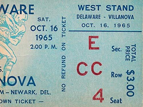 (1965 Univ of Delaware vs. Villanova College Football Game Ticket Stub 1440573)