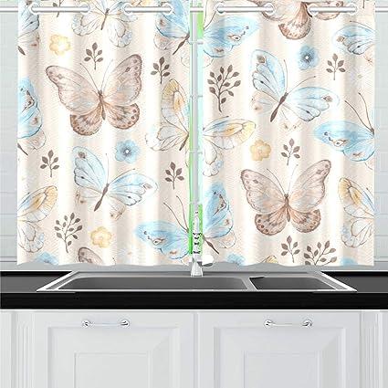 Amazon.com: YUMOING Butterflies Flowers Blue Yellow Kitchen ...