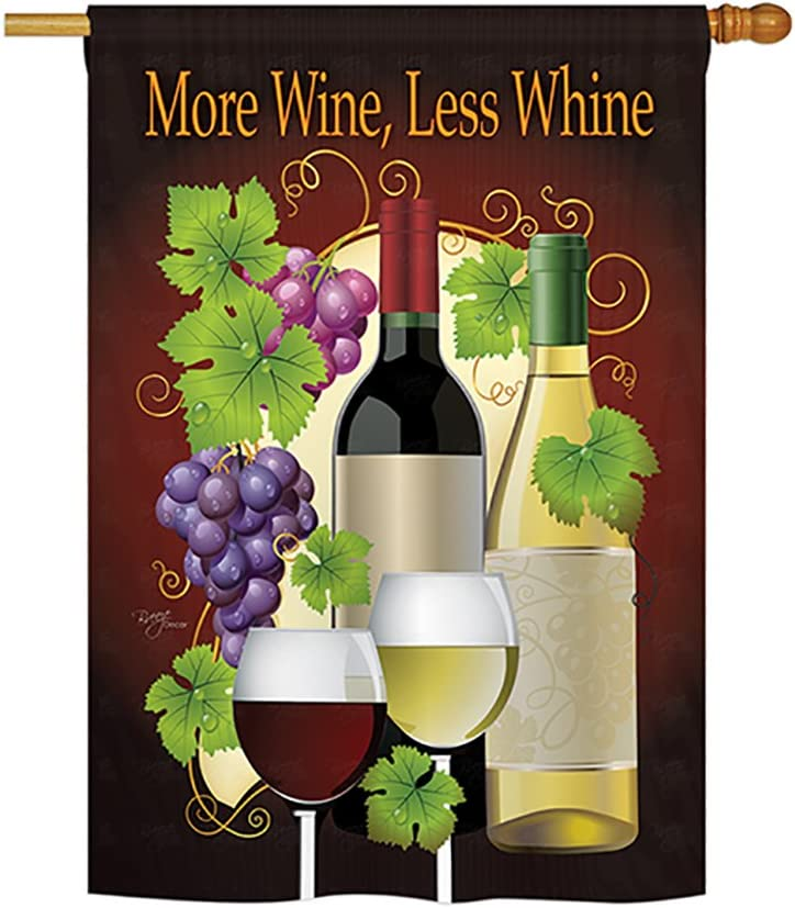 More Wine, Less Whine Indoor/Outdoor Sublimation Flag 28