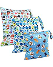 LEADSTAR Wet Dry Bag, 3 PCS Wet Suit Bags, Baby Diaper Bag, Diaper Organizer, Waterproof Washable Hanging Large Two Zippered Pockets for Diaper Nappy Travel Beach Pool Gym Daycare