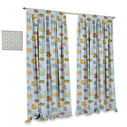 - homefeel Baby Window Curtain Fabric Newborn Sun Teddy Bear Ribbon Feeder Pacifier Chick Kitty Cat Design Decor Curtains by W84 x L108 Pale Blue Cinnamon Apricot