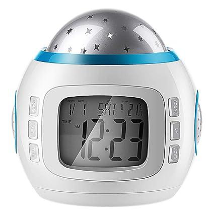 SMBYLL Reloj Despertador de cabecera con Pantalla LED, Reloj Luminoso silencioso para Estudiantes, luz