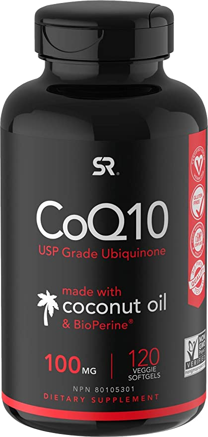 CoQ10 100mg Enhanced with Coconut Oil & Bioperine (Black Pepper) for Better Absorption | Vegan Certified and Non-GMO Verified (120 Veggie Softgels)