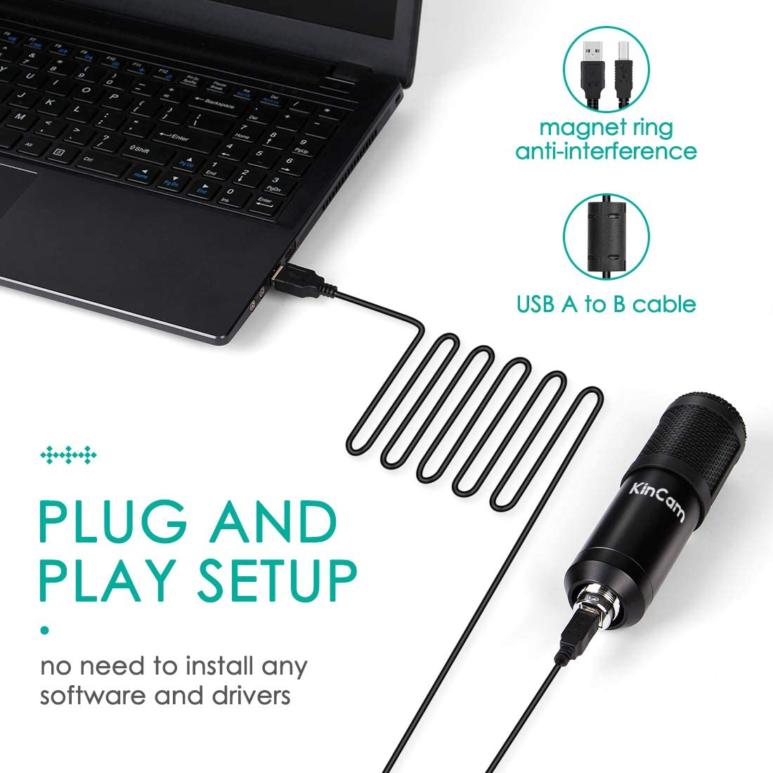 USB Streaming Podcast Microphone Kit,KinCam Professional 192KHZ//24Bit Studio Cardioid Condenser Computer PC Mic Kit with Scissor Arm Shock Mount Stand Pop Filter for Music Recording,YouTube,Gaming