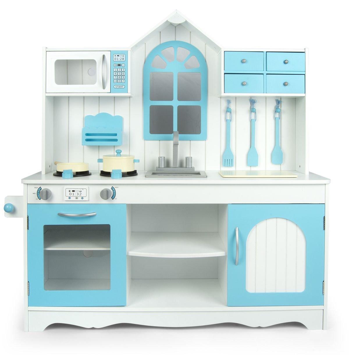 Leomark Cocina Exclusive Royal Azul, Cocina de juguete con accesorios, Juguete para Niñas, color azul, Juego de Imitación, cocina madera infantil, cocina Dimensiones: 106 x 32 x 109 cm. 102/244013A