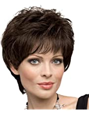 Human Hair Wigs for Women Blonde Unicorn Short Fluffy Hair Wig with Bangs Dark Brown Wigs