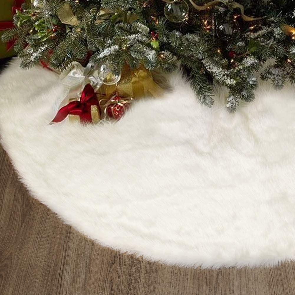 Faux Fur Christmas Tree Skirt 48 inches Soft Plush Tree Skirts Snowy White Skirt for Xmas Winter Theme Decorations