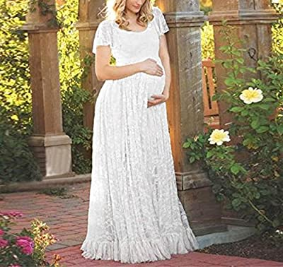 Maternity Lace Dress, Kimloog Pregnant O Neck Floral Gown Photography Props Short Sleeve Long Maxi Dresses
